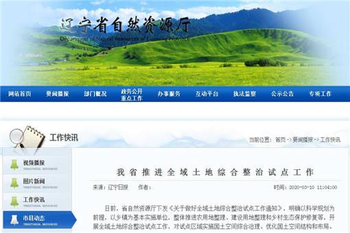 辽宁省推进全域土地综合整治试点工作