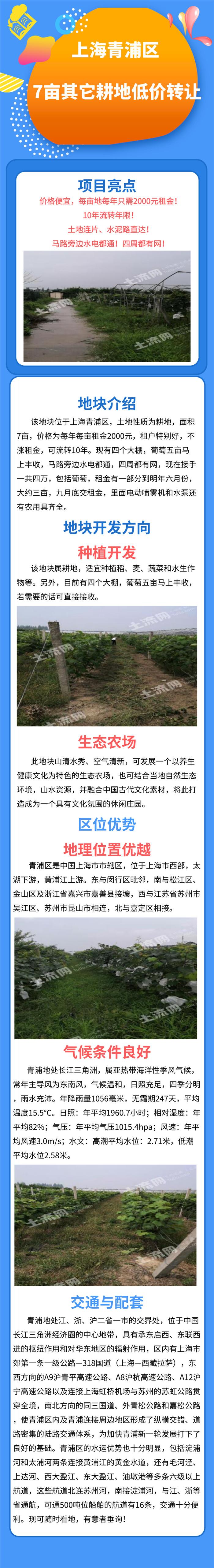 上海青浦区7亩其它耕地低价转让